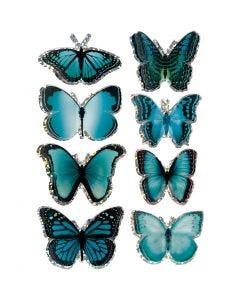3D-tarrat, perhonen, koko 20-35 mm, sininen, 8 kpl/ 1 pkk