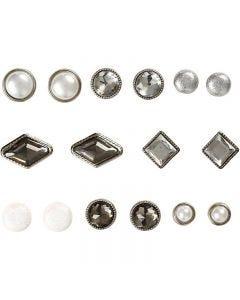 Koristeniitit, koko 8-18 mm, valkoinen, 16 kpl/ 1 pkk