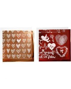 Koristefolio ja siirtoarkki, sydämet ja rakkaus, 15x15 cm, punainen, 2x2 ark/ 1 pkk