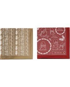 Koristefolio ja siirtoarkki, Traditional Christmas, 15x15 cm, kulta, punainen, 2x2 ark/ 1 pkk