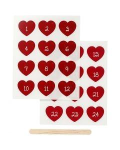 Siirtotarra, Kalenteritarrat, Kork. 32 mm, Lev: 28 mm, 12,2x15,3 cm, punainen, 1 pkk