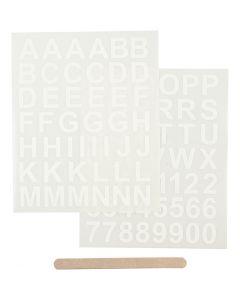Siirtotarra, Kirjaimet ja numerot, 12,2x15,3 cm, valkoinen, 1 pkk