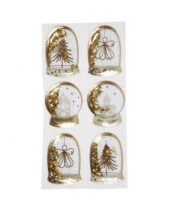 Ravistustarrat, enkeli, puu ja talo, koko 49x32+45x36 mm, kulta, 6 kpl/ 1 pkk
