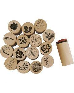 Deco Art-leimasimet, kukat ja lehdet, Kork. 26 mm, halk. 20 mm, 15 kpl/ 1 pkk
