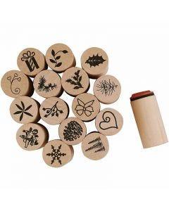 Deco Art-leimasimet, joulu, Kork. 26 mm, halk. 20 mm, 15 kpl/ 1 pkk
