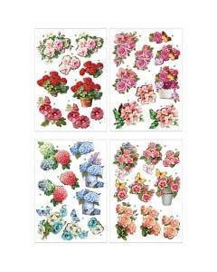 3D-kuvat, kukat , 21x30 cm, 4 ark/ 1 pkk