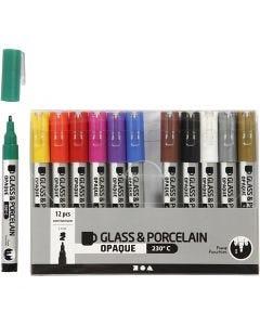 Lasi- ja posliinitussi, paksuus 1-2 mm, läpikuultavat, värilajitelma, 12 kpl/ 1 pkk
