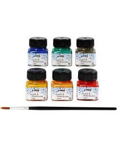 Lasi- ja posliinimaali, värilajitelma, 6x20 ml/ 1 pkk