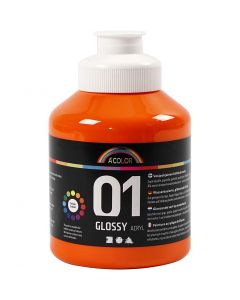 A-Color akryylimaali, kiiltävä, oranssi, 500 ml/ 1 pll