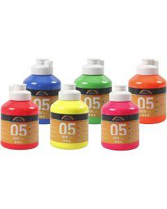 A-Color akryylimaali, neonvärit, 6x500 ml/ 1 ltk