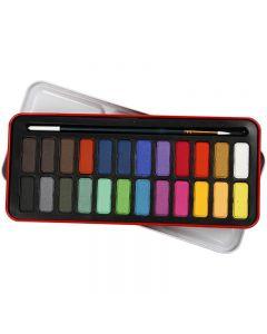 Akvarellivärit, koko 12x30 mm, värilajitelma, 24 väri/ 1 pkk