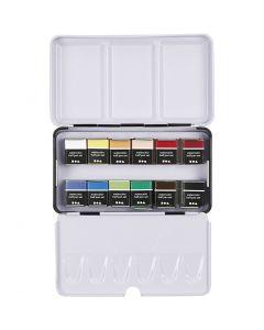 Vesivärilajitelma, ½-pan, koko 10x20 mm, värilajitelma, 12 väri/ 1 pkk