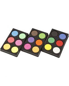 Vesivärinapit, Kork. 16 mm, halk. 44 mm, peruspunainen, neonvärit, Lisävärit, 1 set