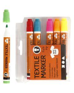 Tekstiilitussit, paksuus 2-4 mm, neonvärit, 6 kpl/ 1 pkk