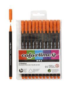 Colortime Fineliner, paksuus 0,6-0,7 mm, oranssi, 12 kpl/ 1 pkk