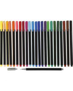 Colortime Fineliner, paksuus 0,6-0,7 mm, värilajitelma, 24 kpl/ 1 pkk