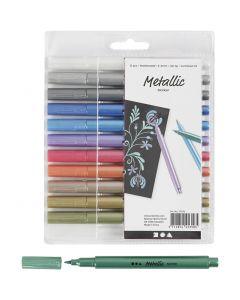 Metallic tussit, paksuus 2-4 mm, metallic-värit, 12 kpl/ 1 pkk
