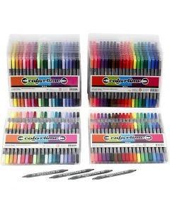 Colortime tussit, paksuus 2,3+3,6 mm, perusvärilajitelma, Lisävärit, 24 pkk/ 1 pkk
