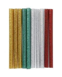 Liimapatruunat, Pit. 10 cm, kimalle, kulta, vihreä, punainen, hopea, 10 kpl/ 1 pkk