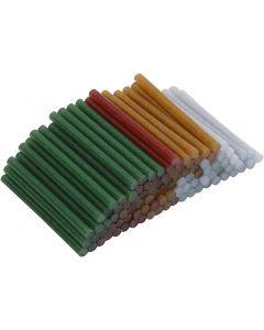 Liimapatruunat, Pit. 10 cm, halk. 7 mm, kimalle, kulta, vihreä, punainen, hopea, 100 kpl/ 1 pkk