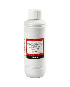 Decoupagelakka, kimalle, hopea, 250 ml/ 1 pll