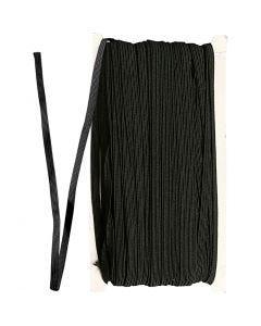 Kuminauha, Lev: 6 mm, musta, 50 m/ 1 rll