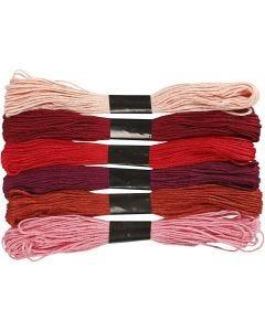 Kirjontalankalajitelma, paksuus 1 mm, punaiset sävyt, 6 kerä/ 1 pkk