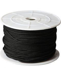 Makrameenyöri, paksuus 2 mm, musta, 50 m/ 1 rll