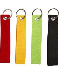 Avaimenperät, koko 3x15 cm, musta, vihreä, punainen, keltainen, 4 kpl/ 1 pkk