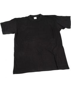 T-paita, Lev: 40 cm, koko 7-8 v., O-aukkoinen, musta, 1 kpl