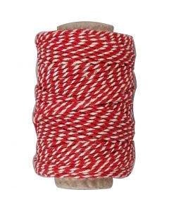Puuvillanyöri, paksuus 1,1 mm, punainen/valkoinen, 50 m/ 1 rll