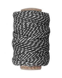 Puuvillanyöri, paksuus 1,1 mm, musta/valkoinen, 50 m/ 1 rll