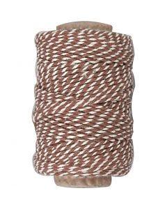 Puuvillanyöri, paksuus 1,1 mm, ruskea/valkoinen, 50 m/ 1 rll