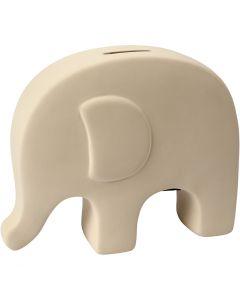 Säästölipas norsu, Kork. 14 cm, Pit. 16,7 cm, valkoinen, 8 kpl/ 1 ltk
