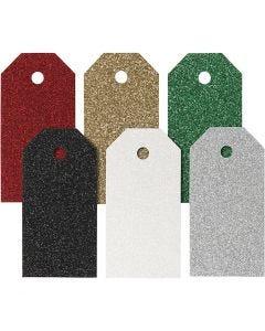 Pakettietiketit, koko 5x10 cm, 300 g, värilajitelma, 6x15 kpl/ 1 pkk