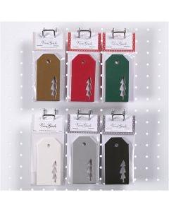 Pakettietiketit, joulupuu, koko 5x10 cm, 300 g, 6x10 pkk/ 1 ltk