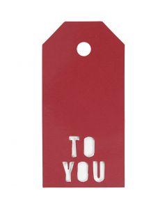 Pakettietiketit, TO YOU, koko 5x10 cm, 300 g, punainen, 15 kpl/ 1 pkk