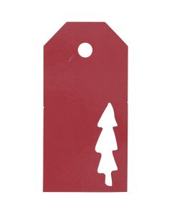 Pakettietiketit, joulupuu, koko 5x10 cm, 300 g, punainen, 15 kpl/ 1 pkk