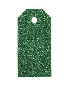Pakettietiketit, koko 5x10 cm, kimalle, 300 g, vihreä, 15 kpl/ 1 pkk