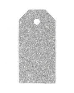 Pakettietiketit, koko 5x10 cm, kimalle, 300 g, hopea, 15 kpl/ 1 pkk