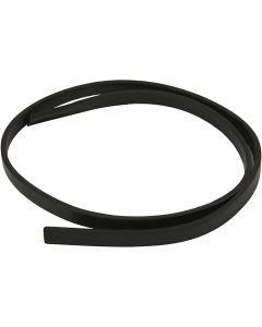 Keinonahkanauha, Lev: 10 mm, paksuus 3 mm, musta, 1 m/ 1 pkk