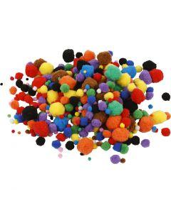 Pompomit, halk. 5-40 mm, värilajitelma, 42 g/ 1 pkk