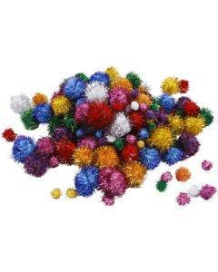 Pompomit, halk. 15-40 mm, kimalle, vahvat värit, 62 g/ 1 pkk