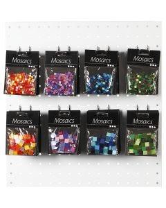 Minimosaiikit, koko 5x5+10x10 mm, vihreä/sinisävyt, glitter vihreä, violetti/tummanvioletti, oranssi/pun. sävyt, 80 pkk/ 1 pkk