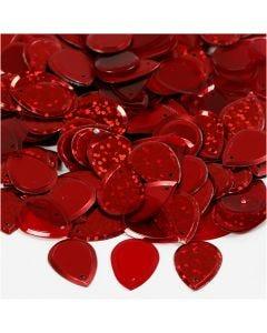 Paljetit, sadepisara, koko 14x19 mm, punainen, 50 g/ 1 pkk