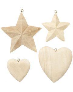Sydämet ja tähdet, 4 kpl/ 1 pkk