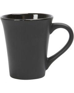 Posliinimuki, Kork. 10 cm, halk. 5,9-8,7 cm, musta, 1 kpl