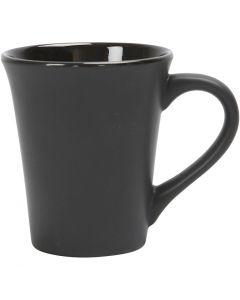 Posliinimuki, Kork. 10 cm, halk. 5,9-8,7 cm, 300 ml, musta, 12 kpl/ 1 ltk