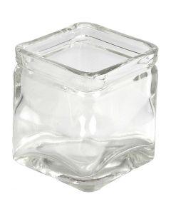 Lasipurkki, Kork. 5,5 cm, koko 5,5x5,5  cm, 12 kpl/ 1 ltk