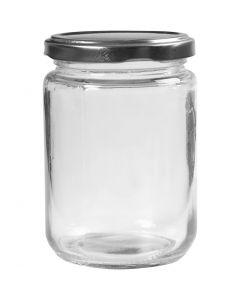 Lasipurkki, Kork. 11 cm, halk. 7,5 cm, 370 ml, kuulto, 6 kpl/ 1 ltk